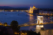 Budapest cityscape with Chain Bridge and Parliament Building