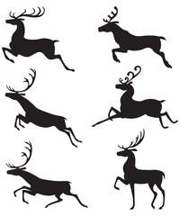 Set silhouette deer