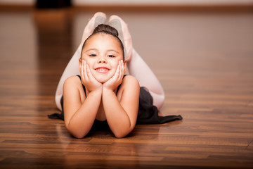Happy ballerina during a class