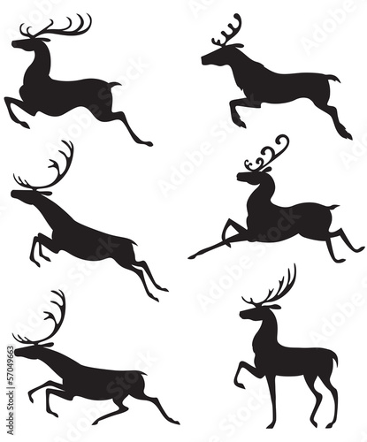 Set silhouette deer