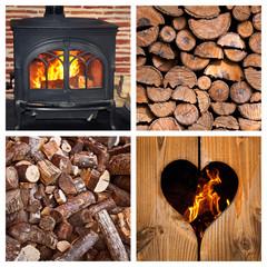 Collage poêle à bois