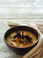 Soup with salmon and mussels