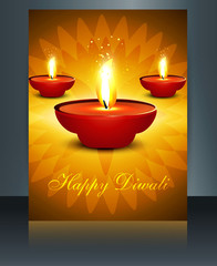 Diwali brochure template colorful card beautiful vector