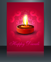 Diya for Diwali brochure reflection template colorful vector