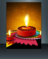 Fantastic colorful diwali diya template brochure vector