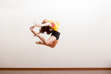 Beautiful dancer up in the air