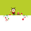 Birthday Card Ladybug Bouquet & Symbols Green