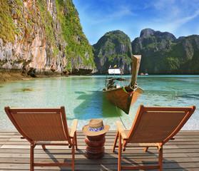 Two convenient comfortable guest sun loungers