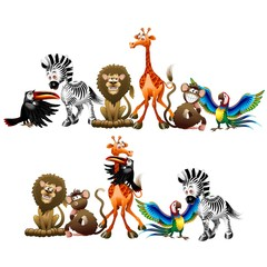 Wild Animals Cartoon-Animali Selvaggi Cartoon-Vector