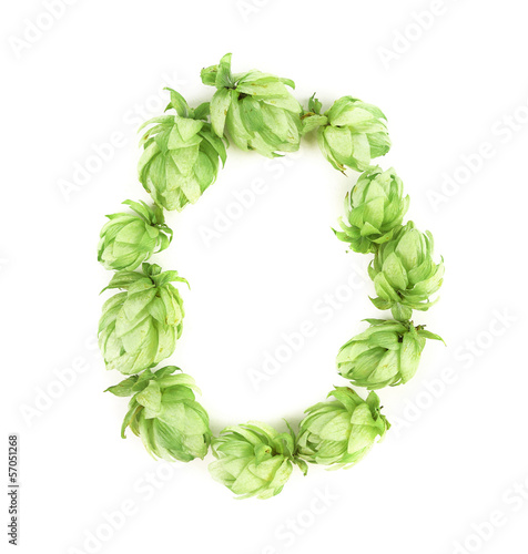 Hop flowers as letter O.