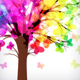 abstract background, tree with butterflys branches.