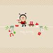 Ladybug Bouquet & Symbols Beige Dots