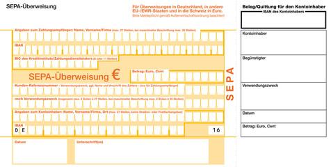 SEPA Euro Überweisungsformular mit Einzahlungsbeleg