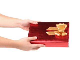 Hand holds gift box