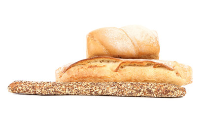 Multi - grain brown and white bread.