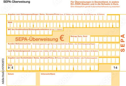 SEPA Euro Überweisungsformular