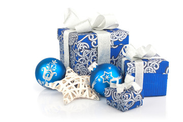 Christmas accessories in blue