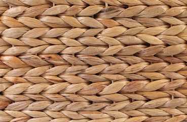 Closeup of yellow wicker basket.