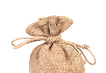 Closeup of sack tied up with rope.