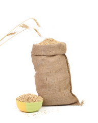 Sack with grains and ear wheat.