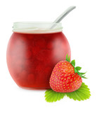 Strawberry jam isolated on white