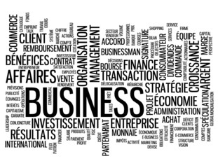 "Nuage de Tags ""BUSINESS"" (b2b affaires argent commerce finance)"