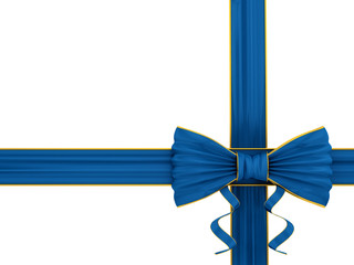 render of shiny blue silk ribbon