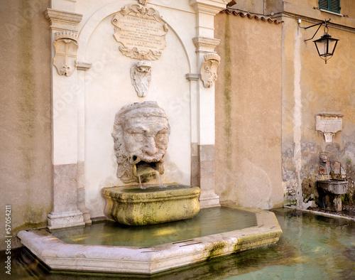 Leinwanddruck Bild Fontana del Mascherone, Spoleto, Umbria