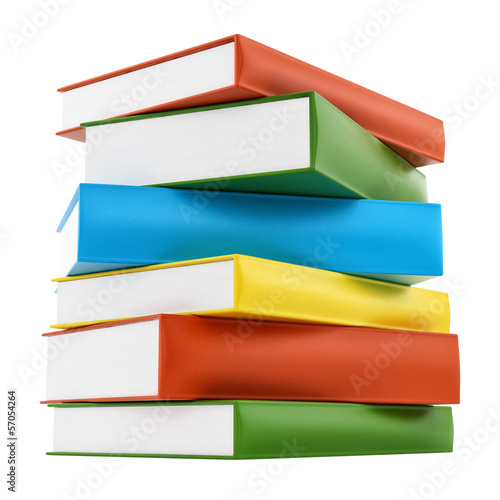 render of colorful leather cover books