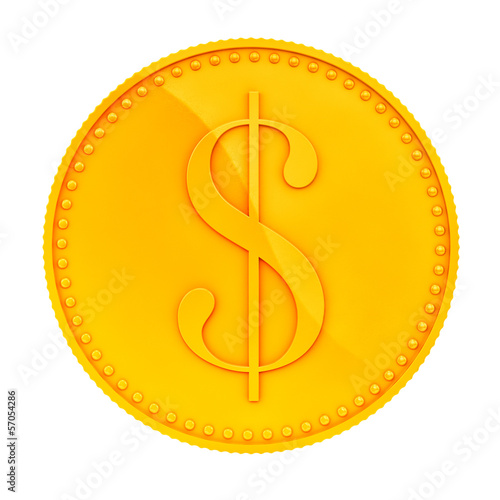 render of a gold coin, isolated on white