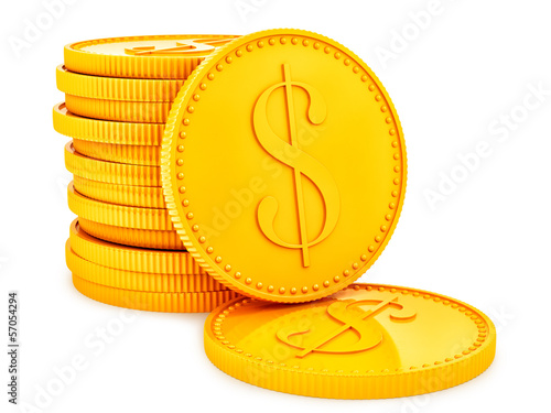 render of gold coins, isolated on white