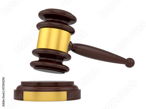render of a judge gavel, isolated on white