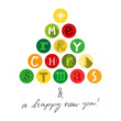 Christmas card, ornaments, letters, tree, white background