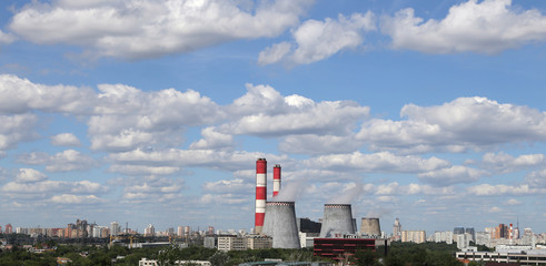 Pipes of coal  burning power station. Moscow, Russia
