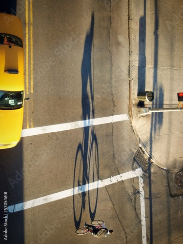 Shadow of cyclist in NYC