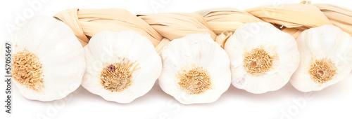 garlic plait isolated on white