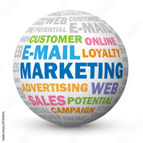 """E-MAIL MARKETING"" Tag Cloud Globe (online advertising commerce)"