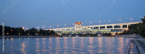 Moscow River, Luzhnetskaya Bridge (Metro Bridge). Moscow, Russia
