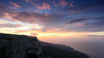 Timelapse sunrise in the mountains Merdven-Kayasy. Crimea, Ukrai