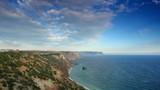 Cloudy sky over the mountains and the sea. Cape Fiolent, Crimea,