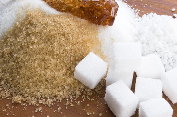 Various kinds of sugar close up