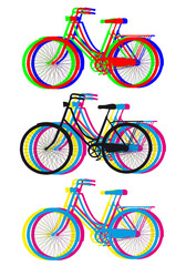 colorful bicycle silhouettes, vector set