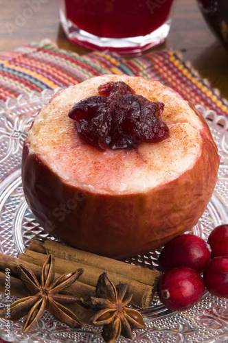 Baked apples with cranberry jam