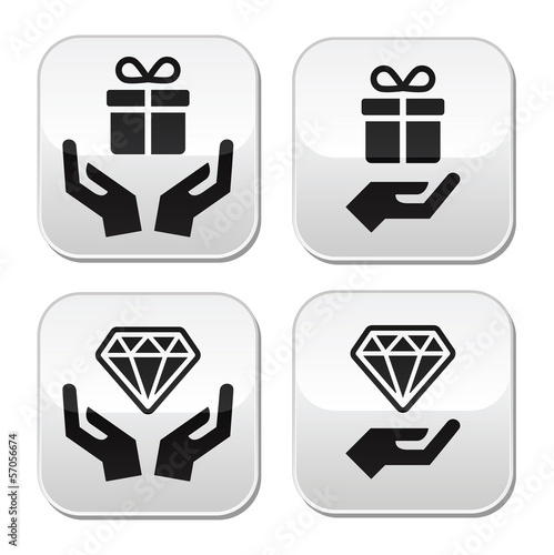 Hands with present and diamond buttons set
