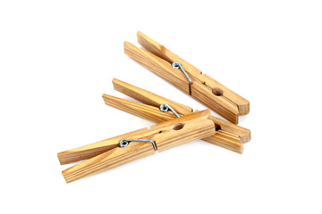 three wooden clamps