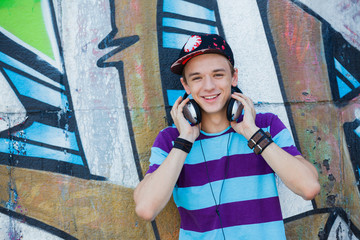 Young boy listening to music