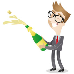 Businessman, champagne, celebrating