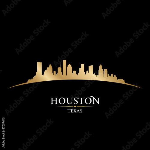 Houston Texas city skyline silhouette black background