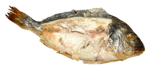 Cooked Fish With Flesh Exposed