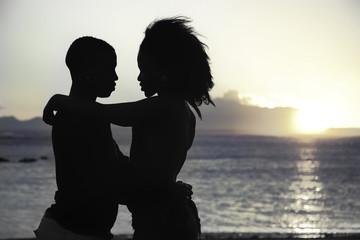 romantic sillhouette couple love
